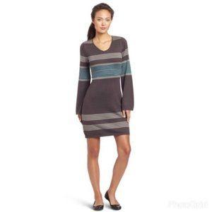 PrAna Syndey Ribbed Stripe Sweater Dress Gray Teal